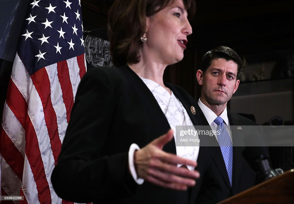Chair of U.S. House Republican Conference Rep. <a gi-track='captionPersonalityLinkClicked' href=/galleries/search?phrase=Cathy+McMorris+Rodgers&family=editorial&specificpeople=5685653 ng-click='$event.stopPropagation()'>Cathy McMorris Rodgers</a> (R-WA) (L) speaks as Speaker of the House Rep. <a gi-track='captionPersonalityLinkClicked' href=/galleries/search?phrase=Paul+Ryan+-+Politician&family=editorial&specificpeople=7641535 ng-click='$event.stopPropagation()'>Paul Ryan</a> (R-WI) (R) looks on during a media availability at the Republican National Committee (RNC) headquarters May 24, 2016 in Washington, DC. The House Republican Conference held a meeting prior to the media availability to discuss party matters.