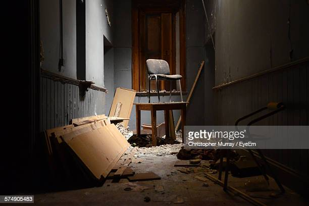 Chair On Table In Abandoned Room