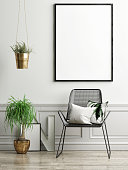 Chair, plants and mock up poster on light green wall, 3d illustration