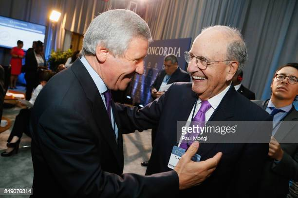 Chair Senator George Mitchell Chairman Emeritus DLA Piper speaks at The 2017 Concordia Annual Summit at Grand Hyatt New York on September 18 2017 in...