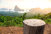 Chair stumps and Sa-met-nang-she mountain views landmark in Phang nga ,Thailand.