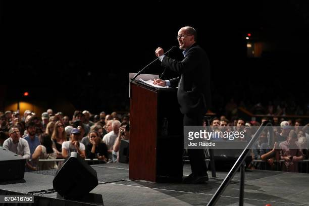 Chair Tom Perez speaks during a 'Come Together and Fight Back' tour at the James L Knight Center on April 19 2017 in Miami Florida Mr Perez and Sen...
