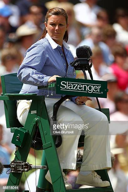 Chair umpire Alison Lang looks on during the women's singles final match between Venus Williams of USA and Serena Williams of USA on Day Twelve of...