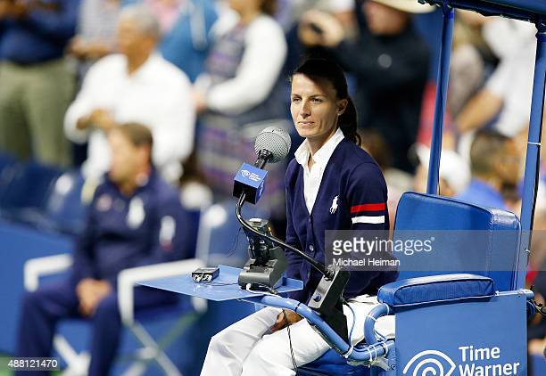 Chair Umpire Eva AsderakiMoore prepares for the Men's Singles Final match between Roger Federer of Switzerland and Novak Djokovic of Serbia on Day...