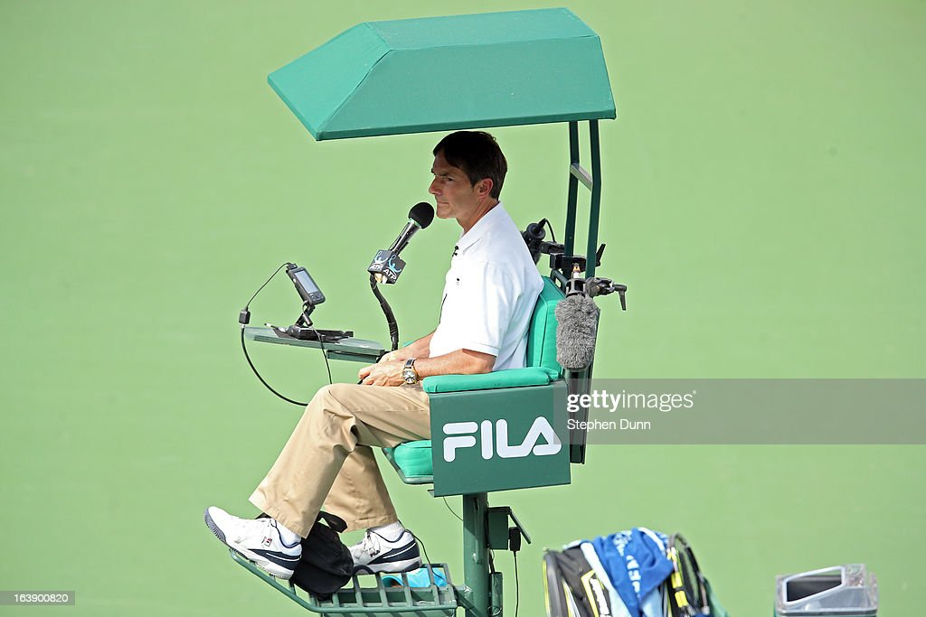 Chair umpire Steve Ulrich officates the match between Juan Martin Del Potro of Argentina and Rafael Nadal of Spain during their men's final match of the 2013 BNP Paribas Open at the Indian Wells Tennis Garden on March 17, 2013 in Indian Wells, California.