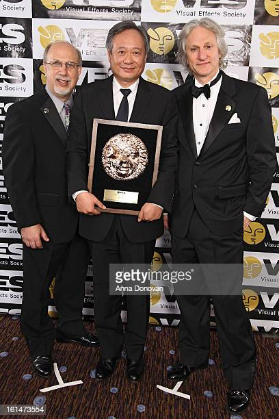 Chair VES Jeffrey A Okun director Ang Lee and VES executive director Eric Roth attend the 11th Annual Visual Effects Society Awards at The Beverly...