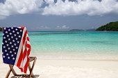 chair with american flag at a US Virgin Islands beach