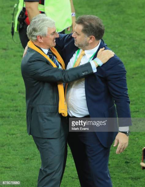 Chairaman of the FFA Steven Lowy congratulates Socceroos Coach Ange Postecoglou after the 2018 FIFA World Cup Qualifiers Leg 2 match between the...