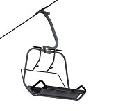 Chair-lift isolated on white background. Close-up view