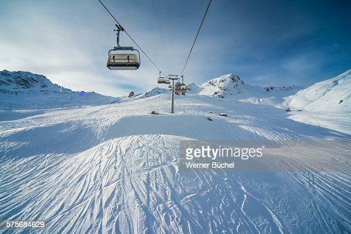 Chairlift - ski ressort in the Alps
