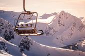 Whistler Backcomb ski resort in sunset.
