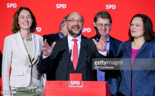 SPD chairman and candidate for Chancellor Martin Schulz delivers a speech as SPD parliamentary group leader Andrea Nahles and German Family Minister...