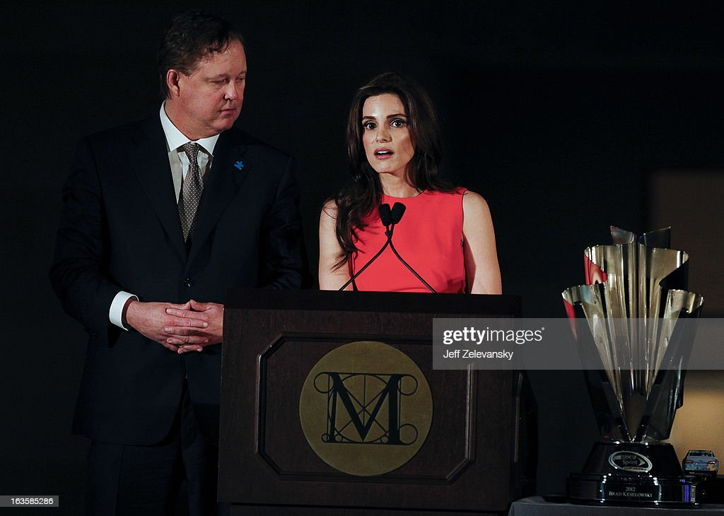 Chairman and CEO Brian France and wife Amy speak to guests at 'Speeding For A Cure', a gala to benefit Autism Speaks held at the Metropolitan Museum of Art on March 12, 2013 in New York City.