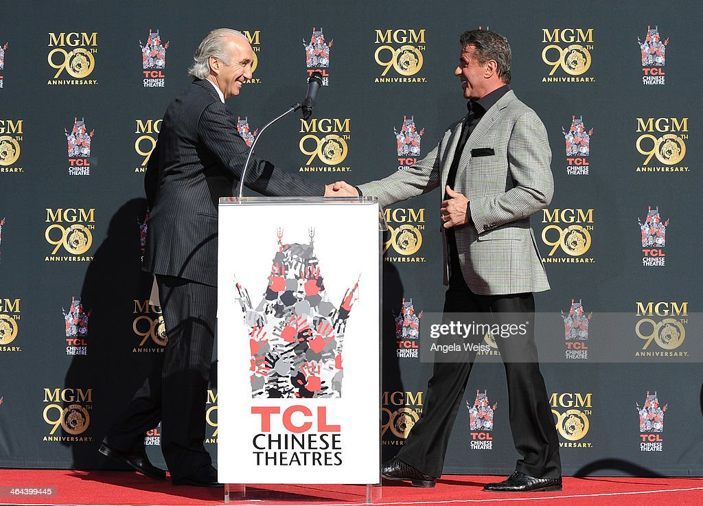 Chairman and CEO, Gary Barber (L)and actor Sylvester Stallone attend the Metro-Goldwyn-Mayer 90th Anniversary Celebration at TCL Chinese Theatre on January 22, 2014 in Hollywood, California.