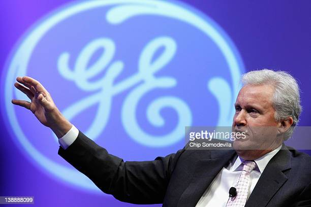 Chairman and CEO Jeffrey Immelt participates in a discussion on 'The Future of Manufacturing Growing American Competitiveness' during GE's fourday...