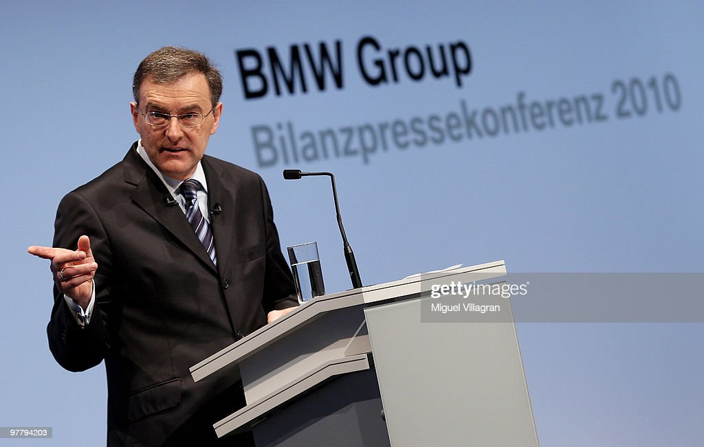Chairman and CEO Norbert Reithofer addresses the media during the annual news conference at BMW World on March 17 2010 in Munich Germany BMW Group...