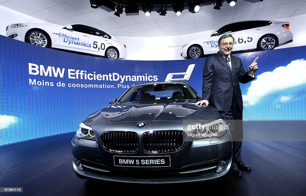 Chairman and CEO Norbert Reithofer presents the BMW 5 Series during the first press day at the 80th Geneva International Motor Show on March 2 2010...