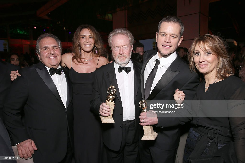 Chairman and CEO of 20th Century Fox Jim Gianopulos, actress Giannina Facio, producer/director Ridley Scott, co-winner of the Best Motion Picture - Musical or Comedy award for 'The Martian,' actor Matt Damon, winner of the Best Performance by an Actor in a Motion Picture - Musical or Comedy award for 'The Martian,' and 20th Century Fox Co-Chairman Stacey Snider attend FOX Golden Globe Awards Awards Party 2016 sponsored by American Airlines at The Beverly Hilton Hotel on January 10, 2016 in Beverly Hills, California.