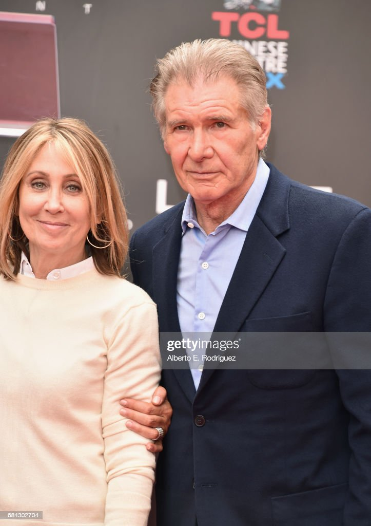 Chairman and CEO of 20th Century Fox Stacey Snider and actor Harrison Ford attend Sir Ridley Scott's hand and footprint ceremony at TCL Chinese Theatre IMAX on May 17, 2017 in Hollywood, California.