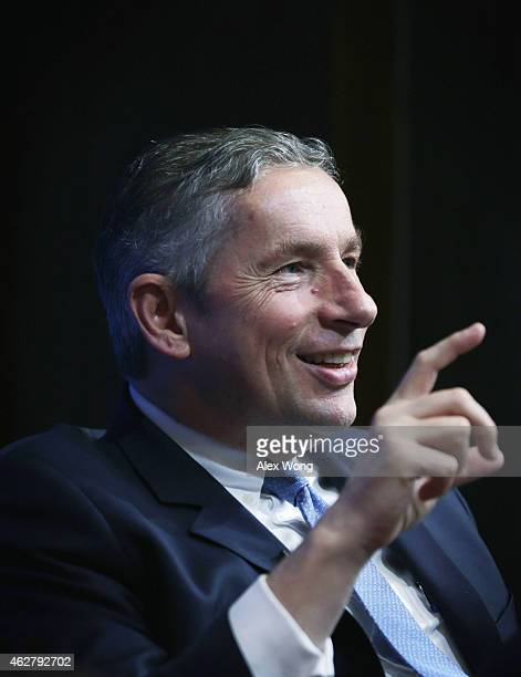 Chairman and CEO of Alcoa Klaus Kleinfeld speaks during a panel discussion of a forum at Brookings Institution February 5 2015 in Washington DC The...