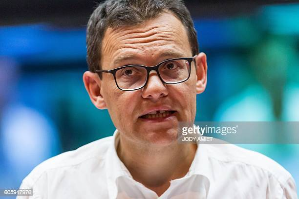 Chairman and CEO of Arianespace Stephane Israel speaks to journalists at a control center during the Vega rocket launching from the European...