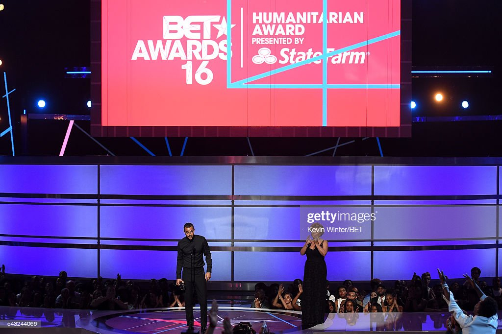 Chairman and CEO of BET Networks <a gi-track='captionPersonalityLinkClicked' href=/galleries/search?phrase=Debra+L.+Lee&family=editorial&specificpeople=555541 ng-click='$event.stopPropagation()'>Debra L. Lee</a> (R) presents the Humanitarian Award to honoree <a gi-track='captionPersonalityLinkClicked' href=/galleries/search?phrase=Jesse+Williams+-+Actor&family=editorial&specificpeople=7189838 ng-click='$event.stopPropagation()'>Jesse Williams</a> onstage during the 2016 BET Awards at the Microsoft Theater on June 26, 2016 in Los Angeles, California.