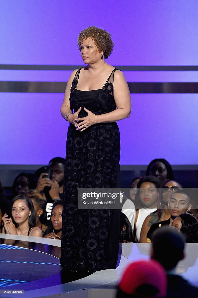 Chairman and CEO of BET Networks <a gi-track='captionPersonalityLinkClicked' href=/galleries/search?phrase=Debra+L.+Lee&family=editorial&specificpeople=555541 ng-click='$event.stopPropagation()'>Debra L. Lee</a> stands onstage during the 2016 BET Awards at the Microsoft Theater on June 26, 2016 in Los Angeles, California.