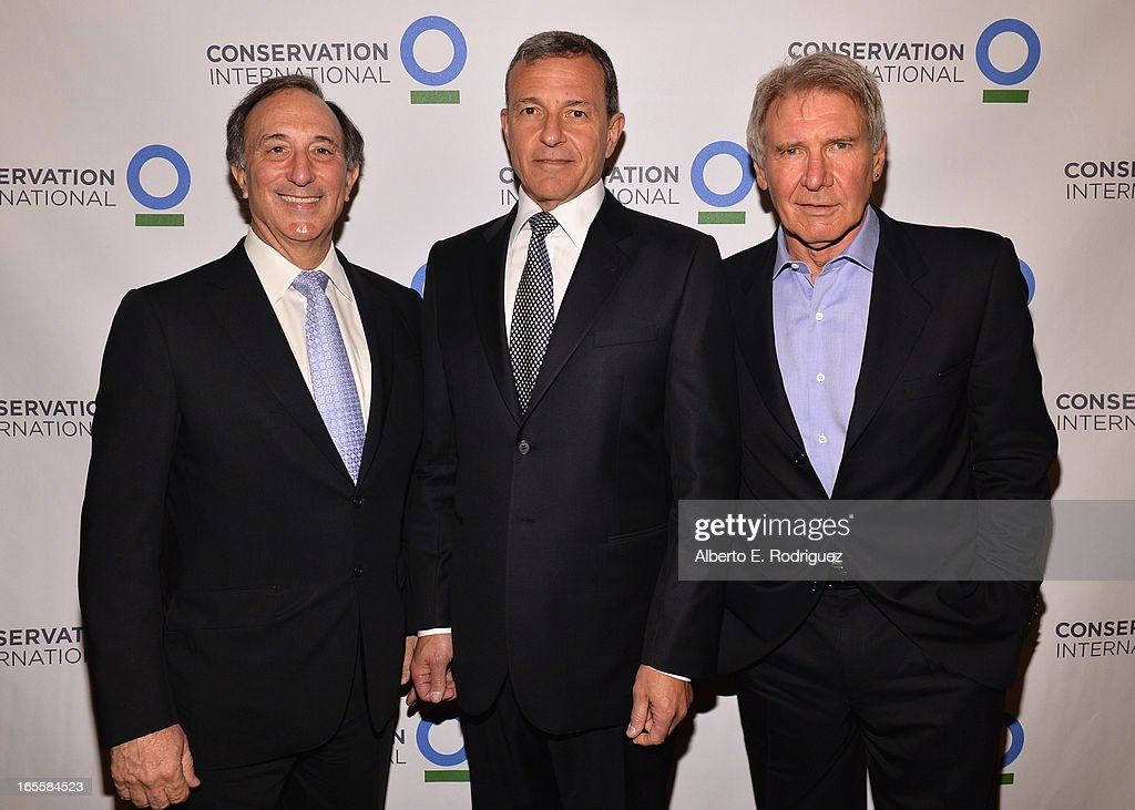 Chairman and CEO of Conservation International Peter Seligmann, Chairman and CEO of the Walt Disney Company <a gi-track='captionPersonalityLinkClicked' href=/galleries/search?phrase=Bob+Iger&family=editorial&specificpeople=171211 ng-click='$event.stopPropagation()'>Bob Iger</a> and actor <a gi-track='captionPersonalityLinkClicked' href=/galleries/search?phrase=Harrison+Ford+-+Acteur+-+N%C3%A9+en+1942&family=editorial&specificpeople=11508906 ng-click='$event.stopPropagation()'>Harrison Ford</a> attend Conservation International's 17th Annual Los Angeles Dinner at Montage Beverly Hills on April 4, 2013 in Beverly Hills, California.