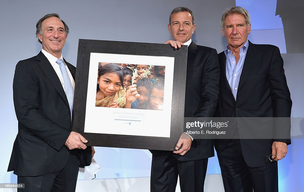 Chairman and CEO of Conservation International Peter Seligmann, Chairman and CEO of the Walt Disney Company <a gi-track='captionPersonalityLinkClicked' href=/galleries/search?phrase=Bob+Iger&family=editorial&specificpeople=171211 ng-click='$event.stopPropagation()'>Bob Iger</a> and actor <a gi-track='captionPersonalityLinkClicked' href=/galleries/search?phrase=Harrison+Ford+-+Actor+-+Born+1942&family=editorial&specificpeople=11508906 ng-click='$event.stopPropagation()'>Harrison Ford</a> attend Conservation International's 17th Annual Los Angeles Dinner at Montage Beverly Hills on April 4, 2013 in Beverly Hills, California.