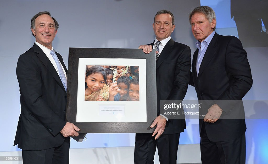 Chairman and CEO of Conservation International Peter Seligmann, Chairman and CEO of the Walt Disney Company Bob Iger and actor Harrison Ford attend Conservation International's 17th Annual Los Angeles Dinner at Montage Beverly Hills on April 4, 2013 in Beverly Hills, California.