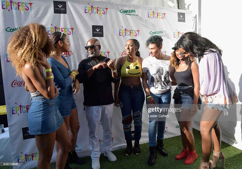 Chairman and CEO of Epic Records, L.A. Reid (C) and (L-R) Singers Brienna DeVlugt, Kristal Lyndriette, Ashly Williams, Gabby Carreiro, Shyann Roberts of June's Diary and singer Kelly Rowland attend EpicFest 2016 hosted by L.A. Reid and Epic Records at Sony Studios on June 25, 2016 in Los Angeles, California.
