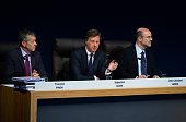 Chairman and CEO of French hotel operator AccorHotels Sebastien Bazin CFO JeanJacques Morin and Group general counsel Francois Pinon attend the group...