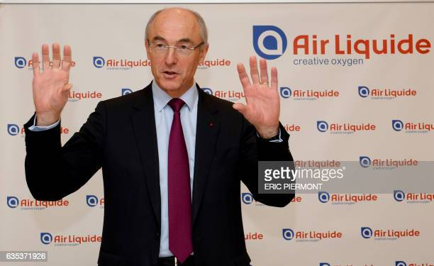Chairman and CEO of French multinational industrial gas company Air Liquide Benoit Potier arrives to attend the presentation of the group's 2016...