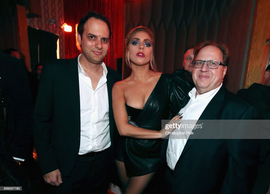 Chairman and CEO of Interscope John Janick, recording artist Lady Gaga and vice chairman of Interscope Geffen A&M Records Steve Berman attend Interscope's Grammy After Party with Lady Gaga at the Peppermint Club on February 12, 2017 in Los Angeles, California.