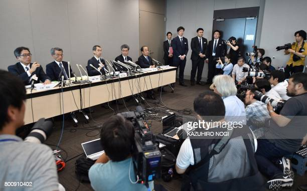 Chairman and CEO of Japanese airbag maker Takata Corp Shigehisa Takada answers questions during a press conference in Tokyo on June 26 2017 Japan's...
