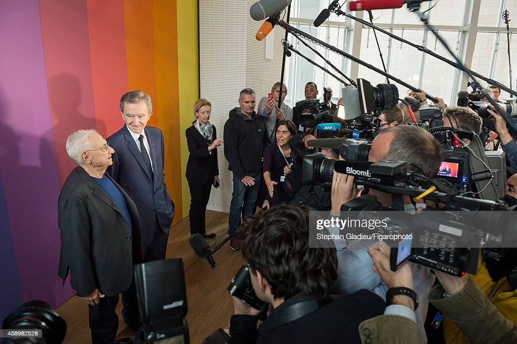 Chairman and CEO of LVMH, <a gi-track='captionPersonalityLinkClicked' href=/galleries/search?phrase=Bernard+Arnault&family=editorial&specificpeople=214118 ng-click='$event.stopPropagation()'>Bernard Arnault</a> and architect <a gi-track='captionPersonalityLinkClicked' href=/galleries/search?phrase=Frank+Gehry&family=editorial&specificpeople=131842 ng-click='$event.stopPropagation()'>Frank Gehry</a> photographed for Le Figaro Magazine on October 17, 2014 in Paris, France. At the presentation of the Louis Vuitton Foundation for the press.