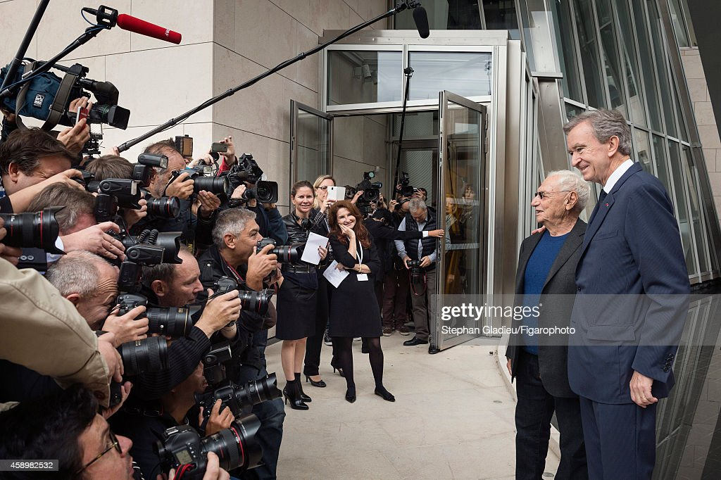 Chairman and CEO of LVMH, Bernard Arnault and architect Frank Gehry are photographed for Le Figaro Magazine on October 17, 2014 in Paris, France. At the presentation of the Louis Vuitton Foundation for the press.
