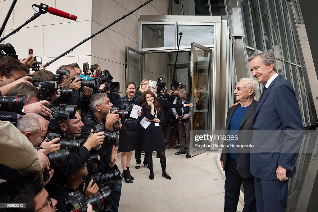 Chairman and CEO of LVMH, <a gi-track='captionPersonalityLinkClicked' href=/galleries/search?phrase=Bernard+Arnault&family=editorial&specificpeople=214118 ng-click='$event.stopPropagation()'>Bernard Arnault</a> and architect Frank Gehry are photographed for Le Figaro Magazine on October 17, 2014 in Paris, France. At the presentation of the Louis Vuitton Foundation for the press. PUBLISHED IMAGE.