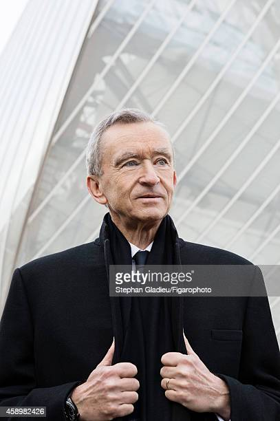 Chairman and CEO of LVMH Bernard Arnault is photographed for Le Figaro Magazine on October 1 2014 visiting the Louis Vuitton Foundation in Paris...