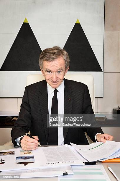 Chairman and CEO of LVMH Bernard Arnault is photographed for Le Figaro Magazine on October 1 2014 in his office in Paris France CREDIT MUST READ...