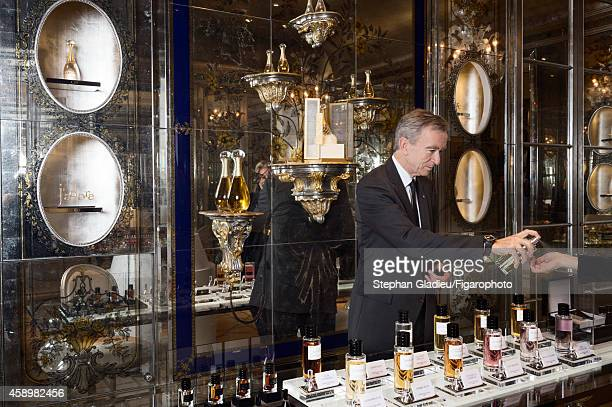 Chairman and CEO of LVMH Bernard Arnault is photographed for Le Figaro Magazine on October 1 2014 during a visit to the Dior store on avenue...