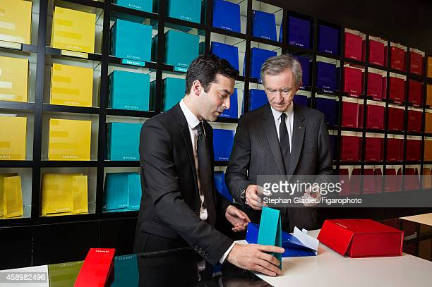Chairman and CEO of LVMH Bernard Arnault is photographed for Le Figaro Magazine on October 1 2014 during a visit to Sephora on the Champs Elysée in...