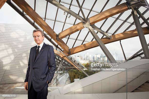 Chairman and CEO of LVMH Bernard Arnault is photographed for Le Figaro Magazine on October 17 2014 in Paris France At the presentation of the Louis...