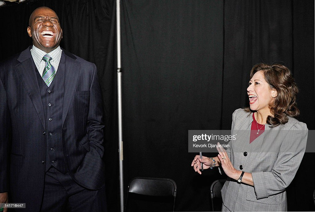 Chairman and CEO of Magic Johnson Enterprises Earvin 'Magic' Johnson and US Department of Labor Secretary Hilda Solis laugh during a Urban Economic...