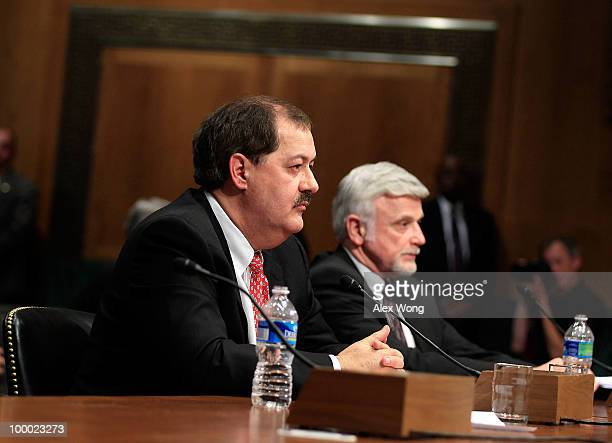 Chairman and CEO of Massey Energy Company Don Blankenship and International President of United Mine Workers of America Cecil Roberts testify during...
