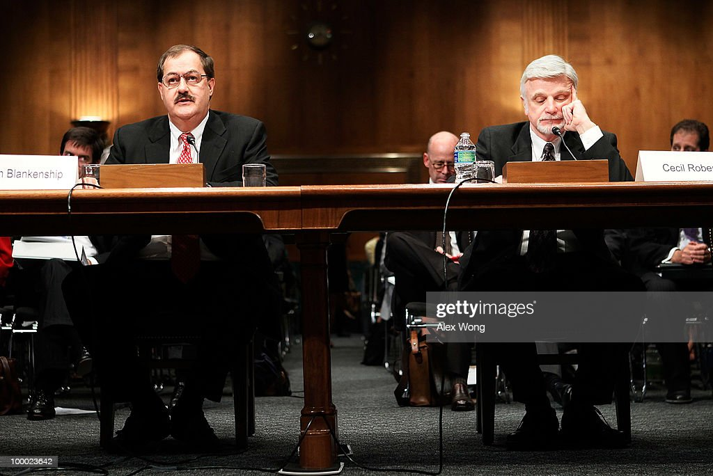 Chairman and CEO of Massey Energy Company Don Blankenship (L) and International President of United Mine Workers of America Cecil Roberts testify during a hearing before the Labor, Health and Human Services, Education, and Related Agencies Subcommittee of the Senate Appropriations Committee May 20, 2010 on Capitol Hill in Washington, DC. The hearing was to examine issues regarding the safety of coal mining.