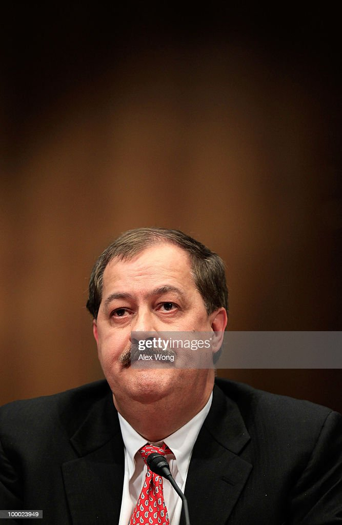Chairman and CEO of Massey Energy Company Don Blankenship listens during a hearing before the Labor, Health and Human Services, Education, and Related Agencies Subcommittee of the Senate Appropriations Committee May 20, 2010 on Capitol Hill in Washington, DC. The hearing was to examine issues regarding the safety of coal mining.