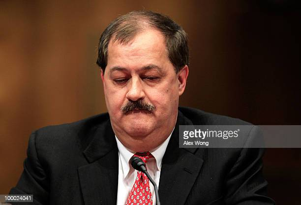 Chairman and CEO of Massey Energy Company Don Blankenship pauses as he testifies during a hearing before the Labor Health and Human Services...
