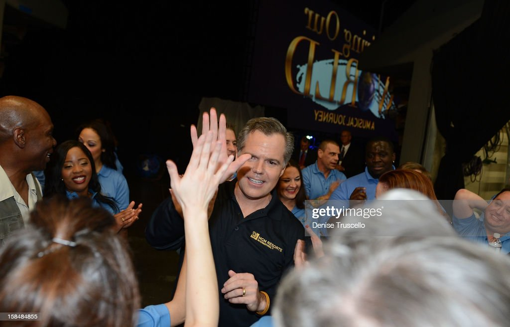 Chairman and CEO of MGM Resorts International Jim Murren (C) during MGM Resorts International presentation of 'Inspiring Our World' at Mandalay Bay on December 17, 2012 in Las Vegas, Nevada.