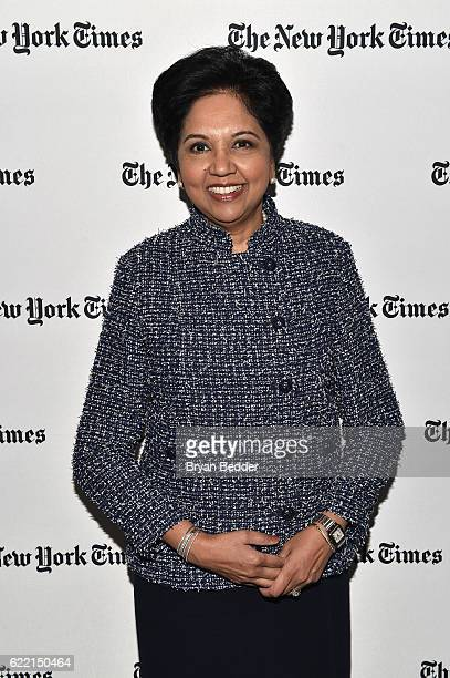 Chairman and CEO of PepsiCo Indra Nooyi poses backstage at The New York Times DealBook Conference at Jazz at Lincoln Center on November 10 2016 in...